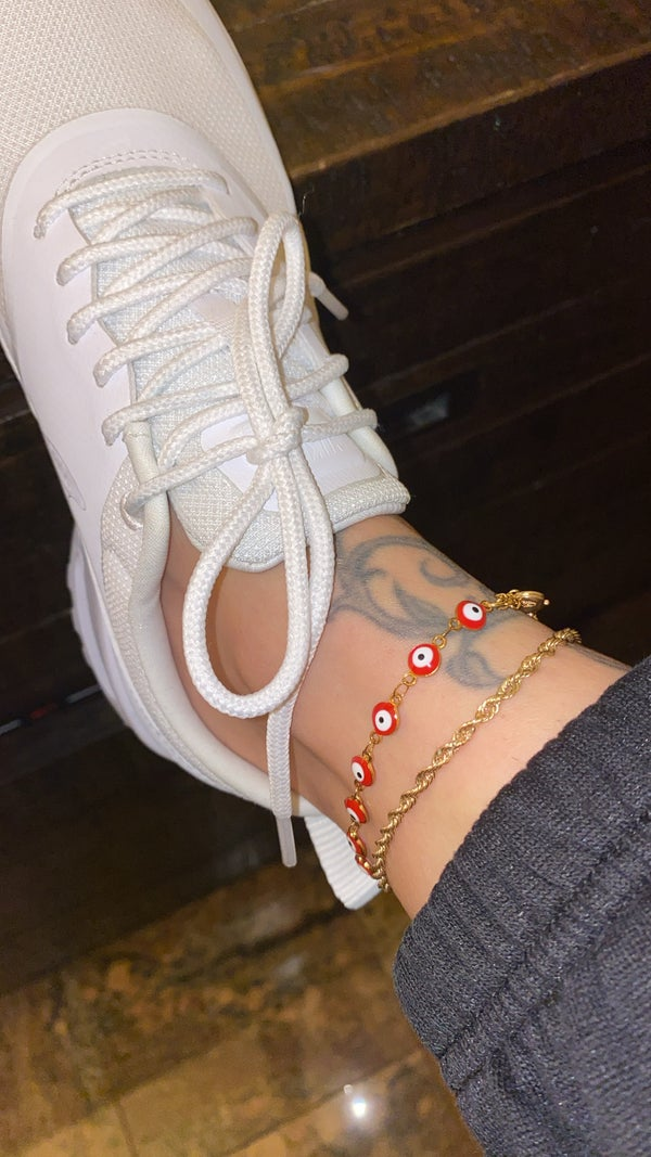Image of RED EVIL EYE ANKLET (STAINLESS STEEL)