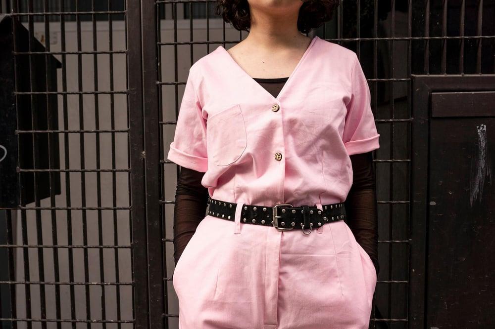 Image of Bubblegum Denim Boilersuit