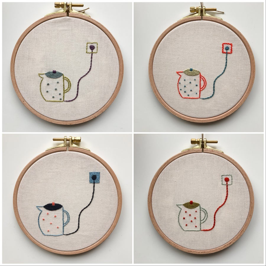 Image of Electric tea pots, 1st series  - one of a kind hand embroidered wall hangings, 5'' hoop
