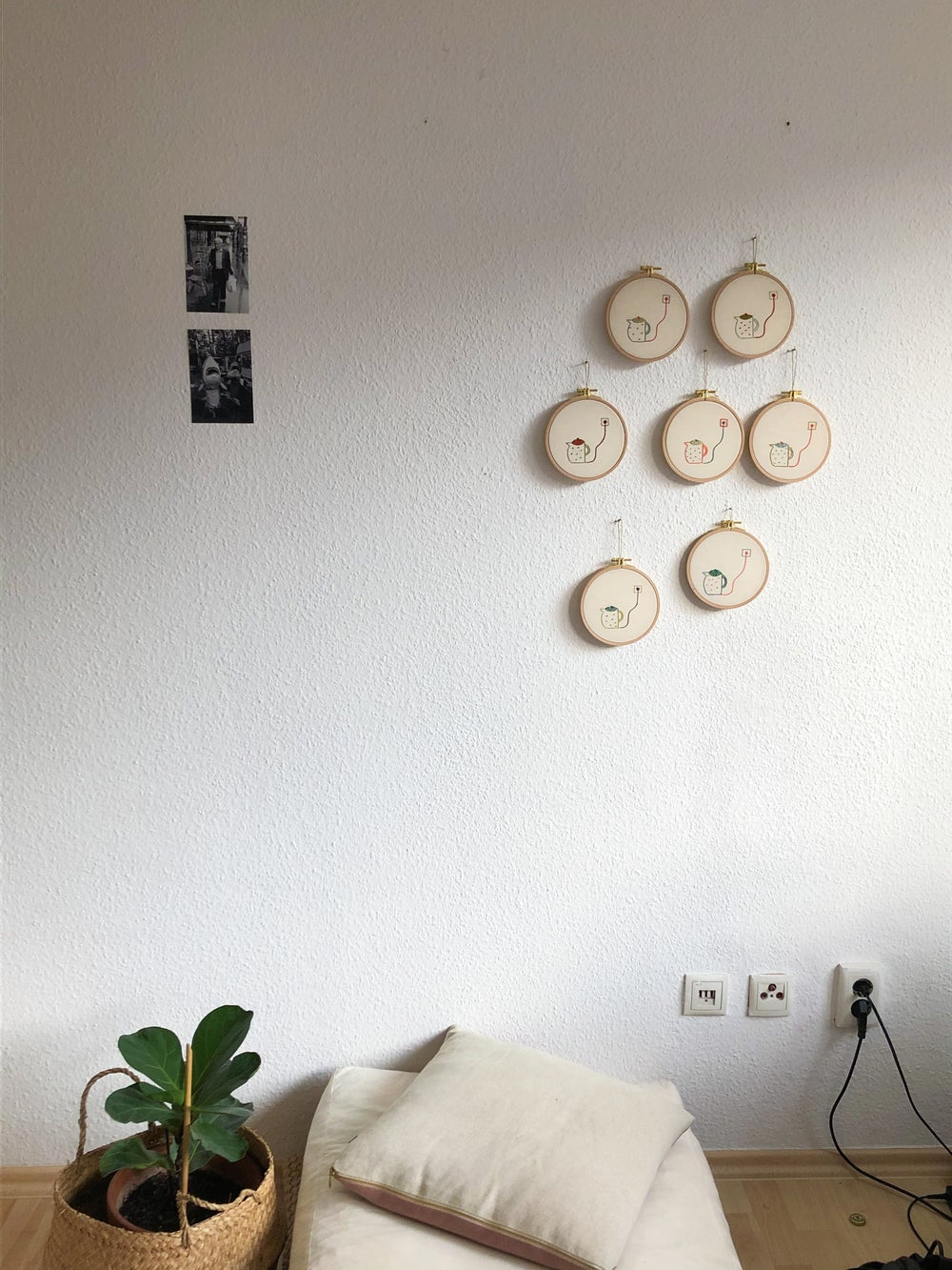 Image of Electric tea pots, 2nd series - one of a kind hand embroidered wall hangings, 5'' hoops