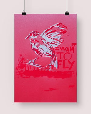 Image of I WANT TO FLY (silver on red shiny paper)