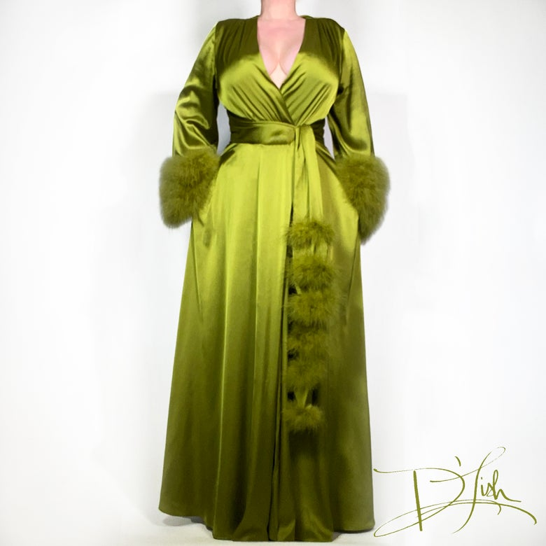 "Image of Olive Marabou-cuff ""Beverly"" Dressing Gown"