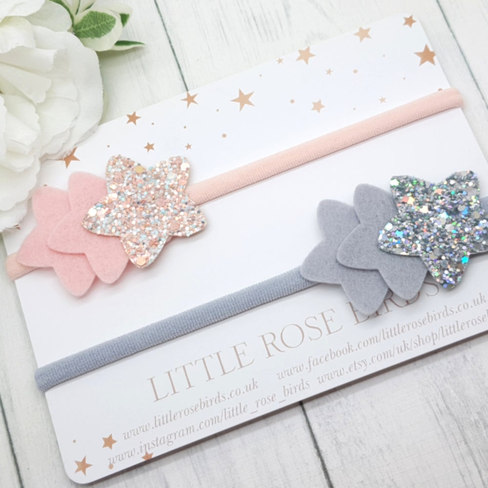 Image of Pink & Grey 3 Star Bow - Choice of Headband or Clips
