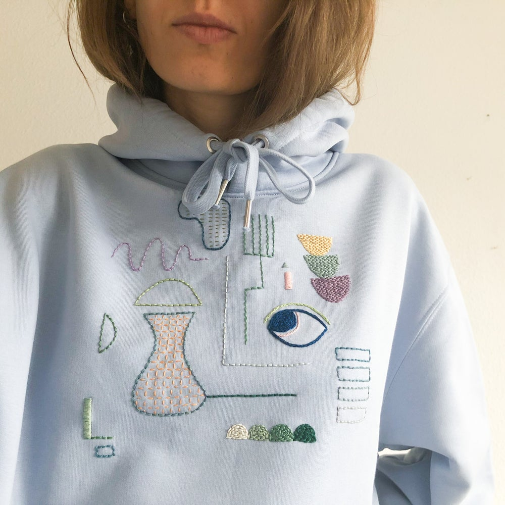 Image of Proper (inner) demons Balancing - hand embroidered organic cotton hoodie, Unisex, one of a kind