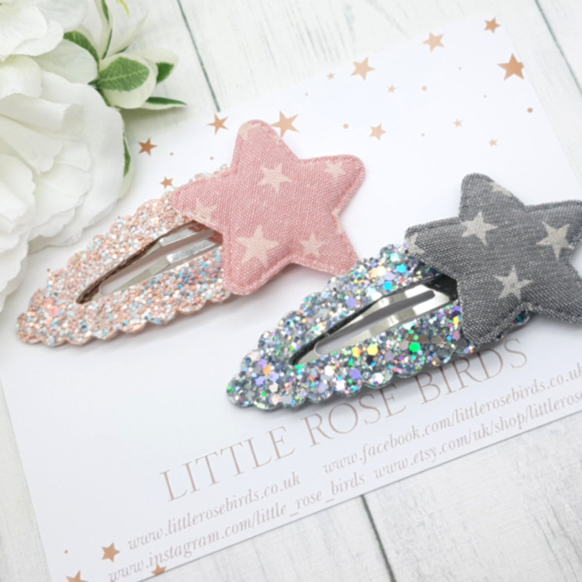 Image of Pink & Grey Glitter Star Snap Clips