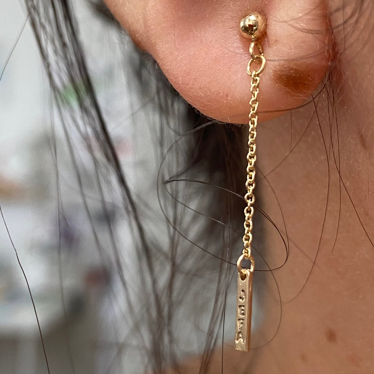 Image of Dainty gold chain and bar single earring
