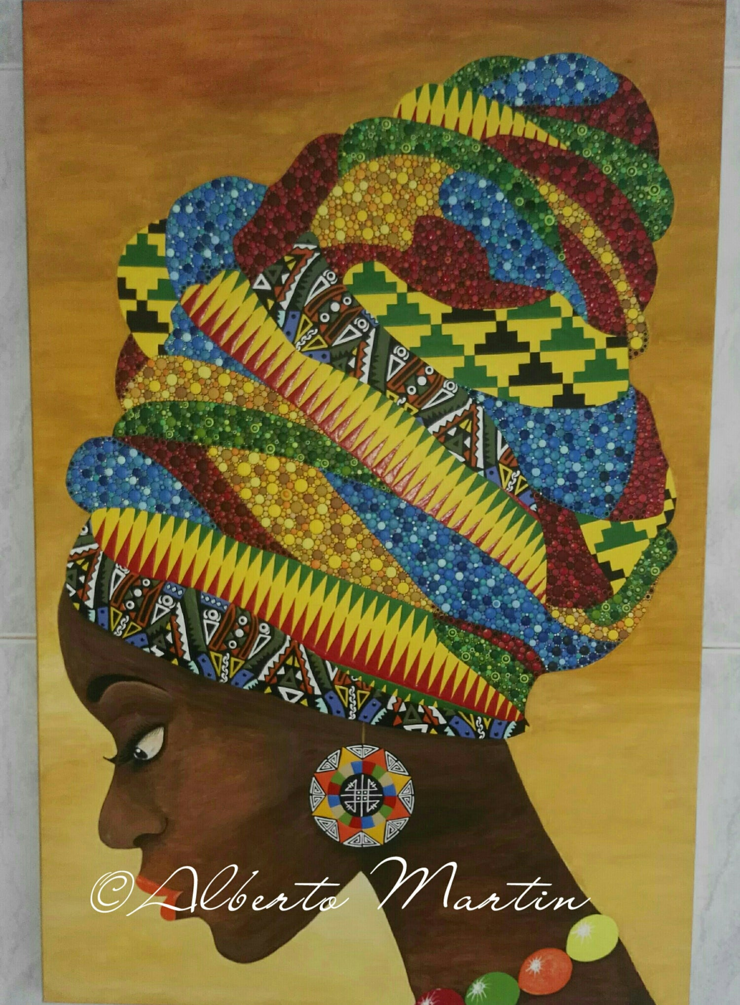"Image of ""JOHARI"", original artwork acrylic painting dotart canvas by Mandalaole Alberto Martin"