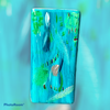 Teal rectangular vase -