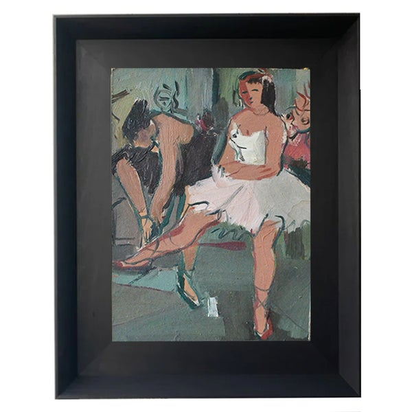 Image of 1940's  French Ballerina Oil Painting