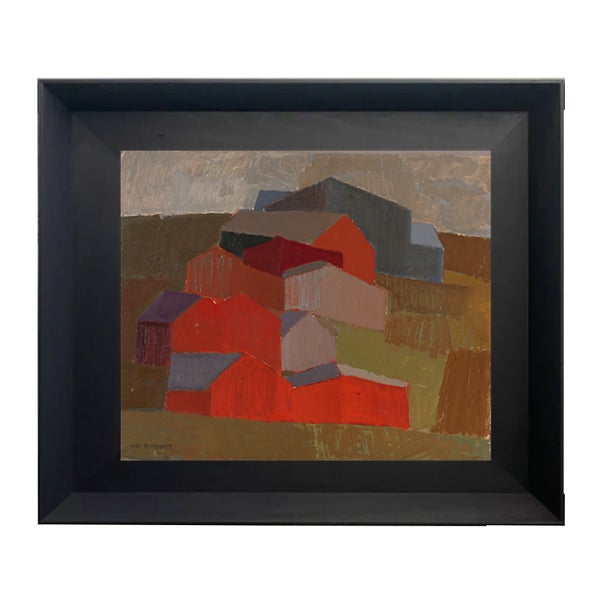 Image of Mid Century Swedish Oil Painting, Abstract Farmstead