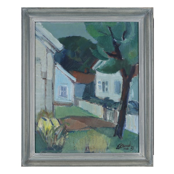 Image of 1951 Swedish Oil Painting, Village Scene BENGT EKLUND