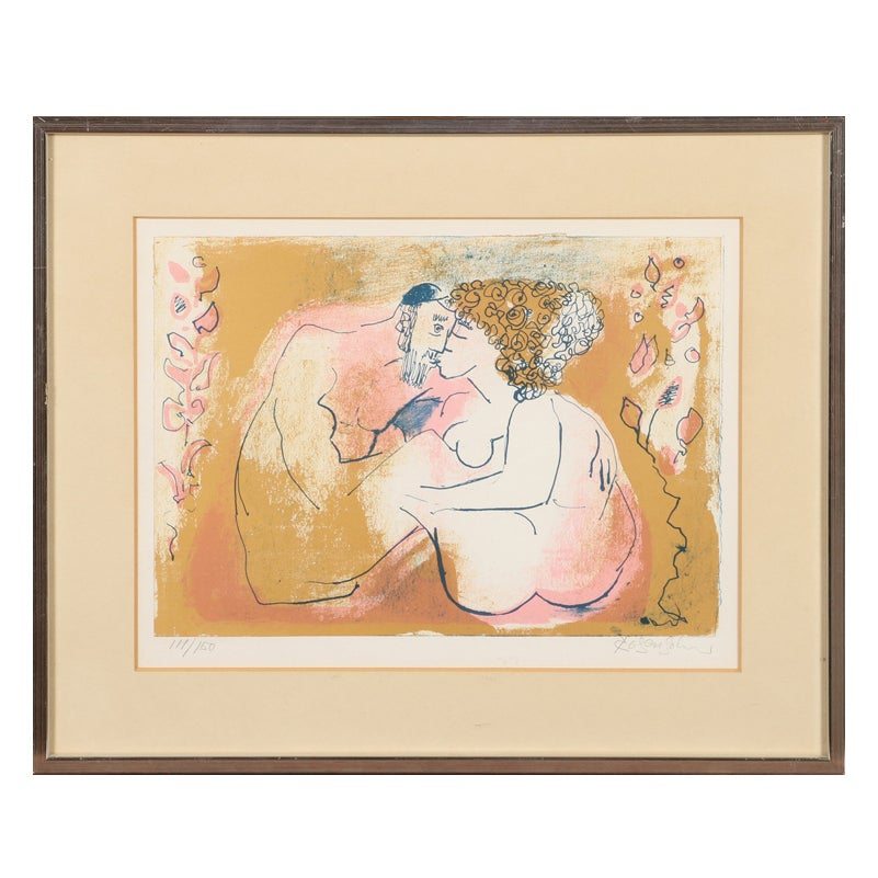 Image of Mid Century Lithograph 'Kissing Couple' Lennart Rosensohn (1918–1994)