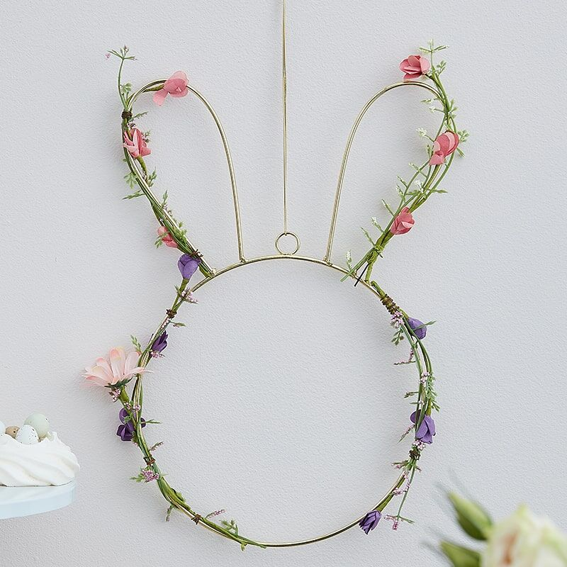 Image of EASTER BUNNY WREATH WITH Pretty Faux Wildflowers