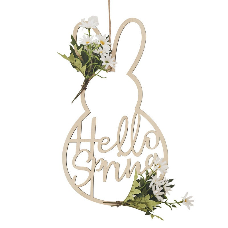 Image of Hello Spring & EASTER WOOD BUNNY WREATH