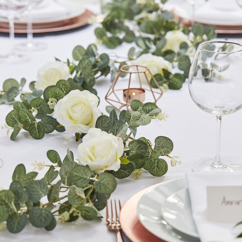 Image of Faux EUCALYPTUS GARLAND WITH WHITE ROSES