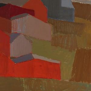 Image of Mid Century Swedish Oil Painting, Abstract Farmstead