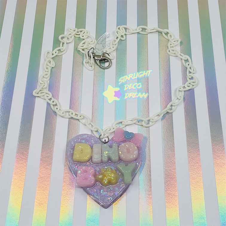 """Image of """"DINO BOY"""" Conversation Heart Necklace"""