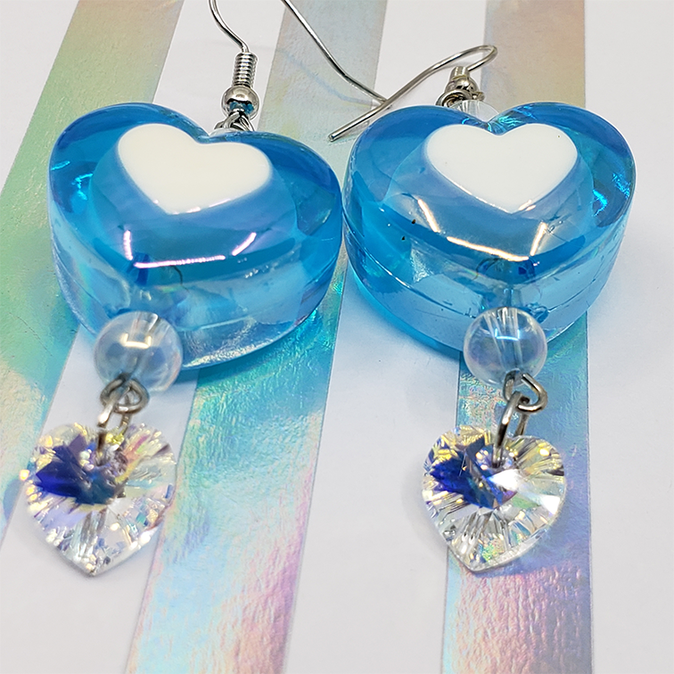 Image of Charmingly Chubby Heart and Swarovski Drop Earrings / Choose a Pair