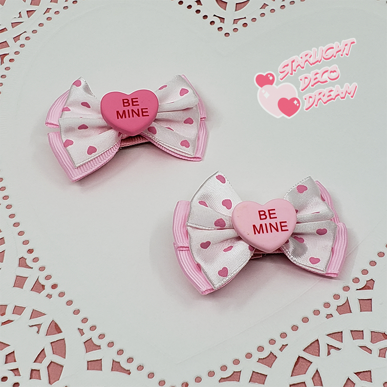 "Image of ""BE MINE"" Conversation Heart Sprinkle Ribbon Bow Hair Clip"