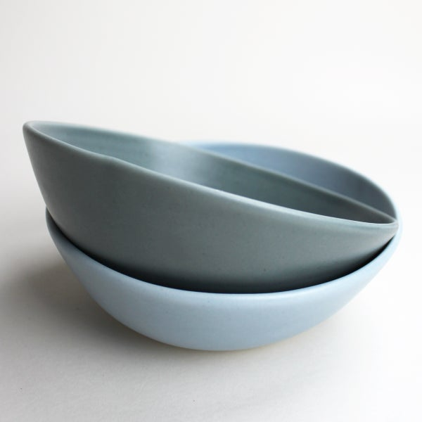 Image of soup bowls, set of two, slate and sky blue