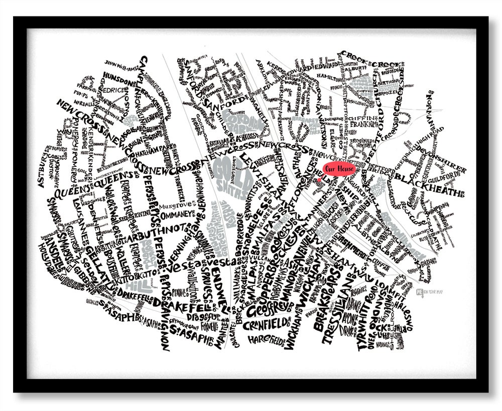 Image of New Cross & Deptford SE14 - SE8 - SE London Type Map