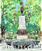 Image of Hyde Park Square Fountain Print