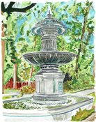 Image of Probasco Fountain Painting Print