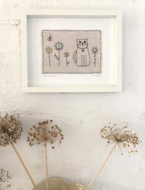 Cat With Flowers - Embroidered Framed Piece