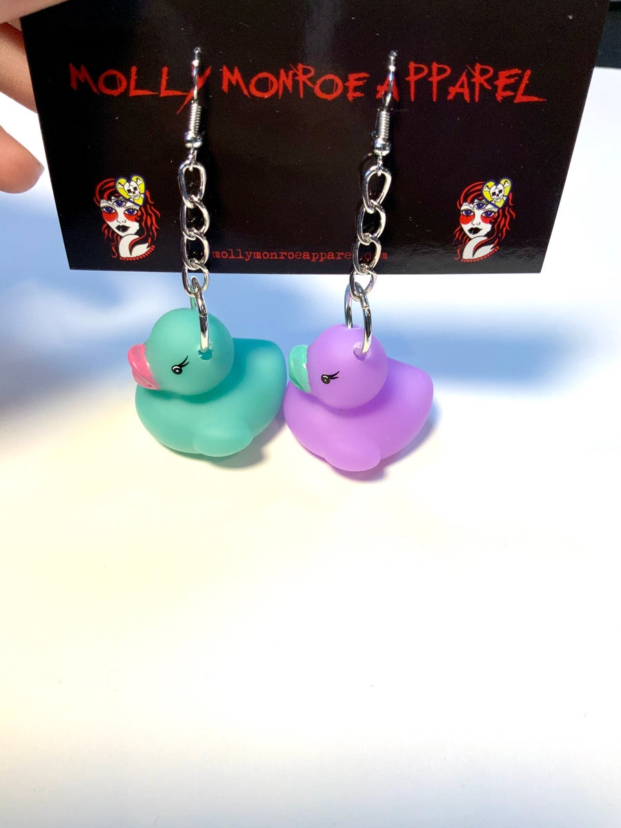 Image of Mint/Purple Duck Earrings