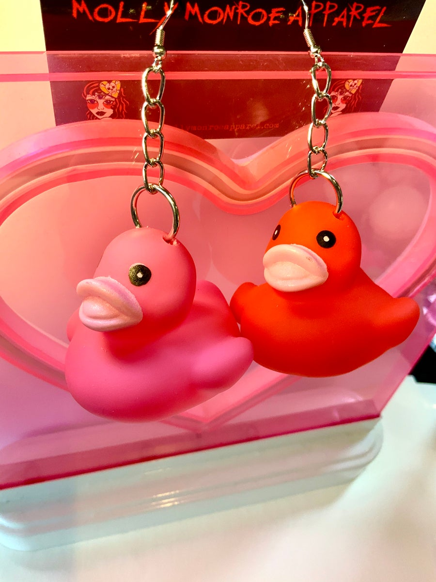 Image of Pink/Red Duck Earrings