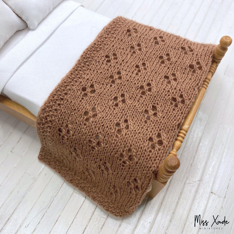 Knitted Eyelet Blanket for Dollhouse - Caramel