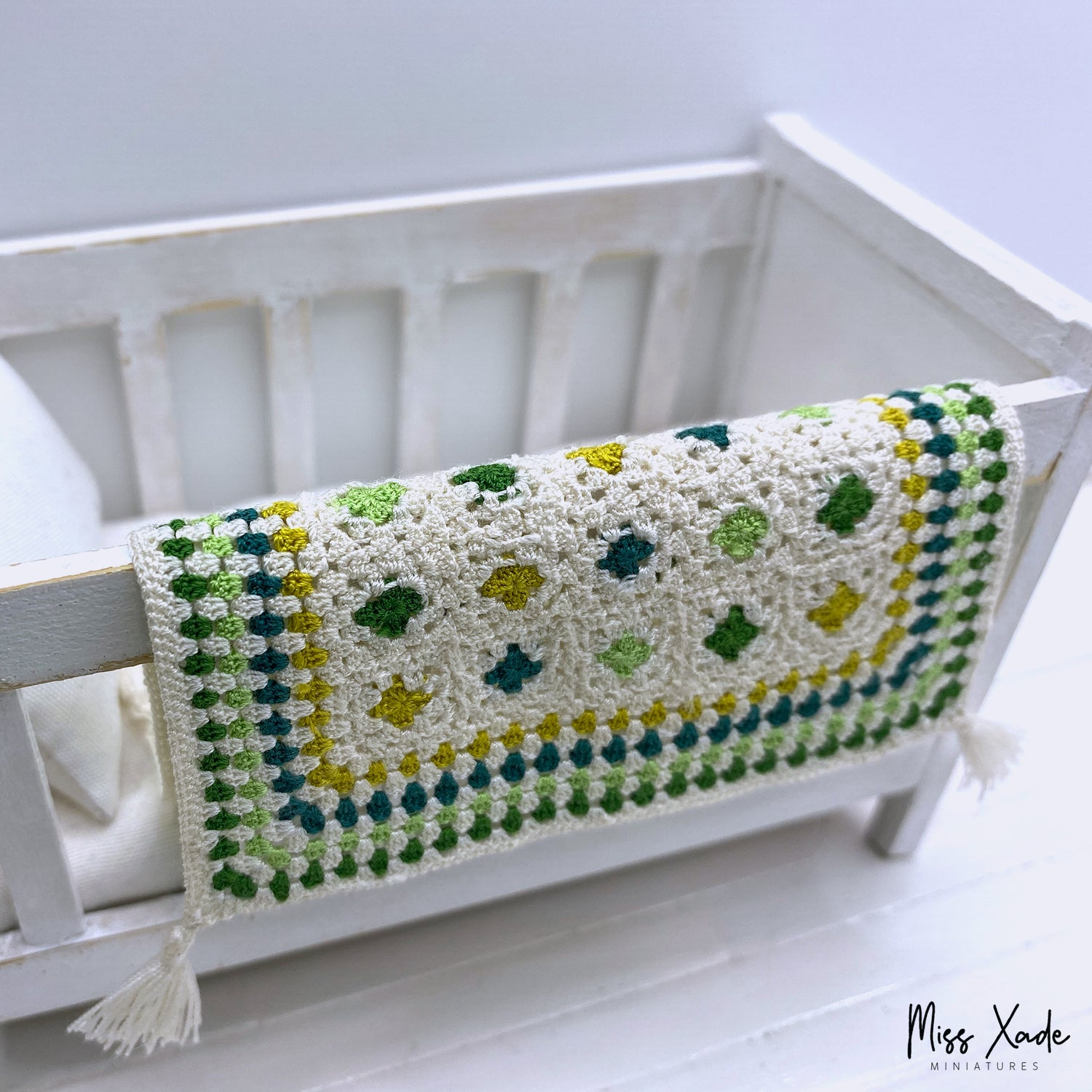 Dollhouse Granny Squares Baby Blanket with Tassels in 1:12 scale