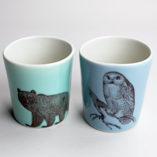 Image of set of two 12oz tumblers, bear and owl
