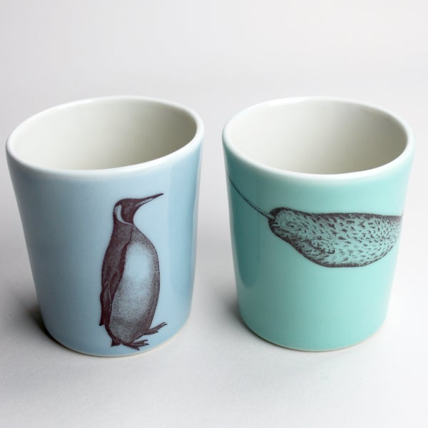 Image of set of two 12oz tumblers, penguin and narwhal