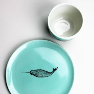 Image of good morning set: wee tea cup and plate, aqua with narwhal