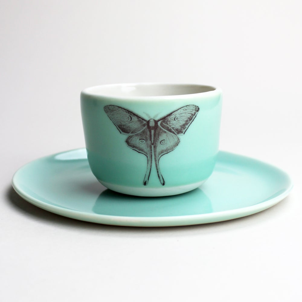 Image of good morning set: wee tea cup and plate, aqua with luna moth