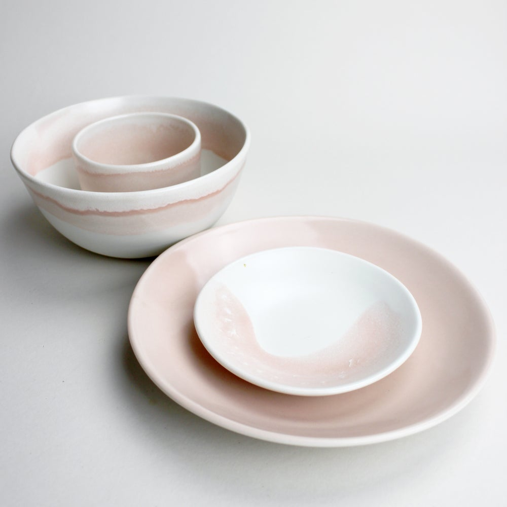 Image of happy lunch set of four: plate, bowls, cup in rose watercolor