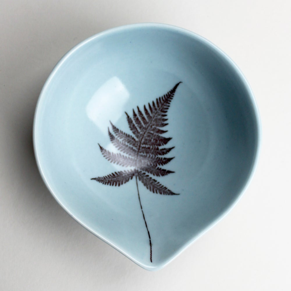 Image of small spouted bowl in ocean with fern