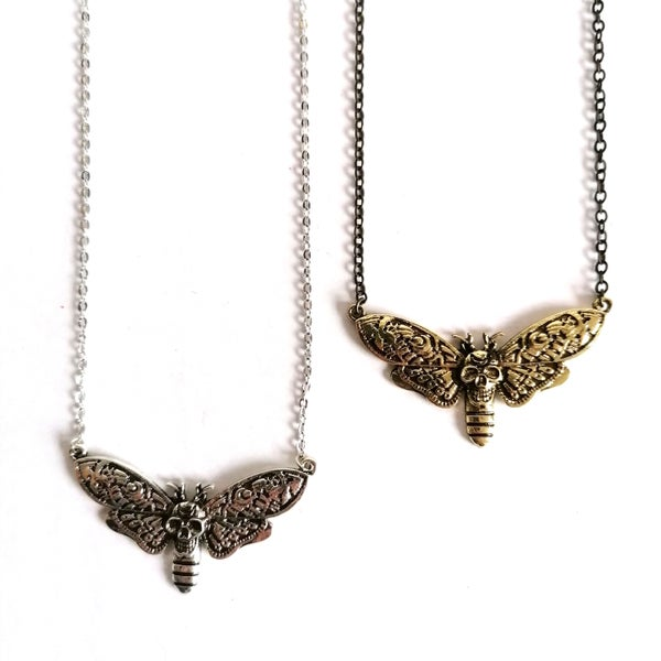 Image of Antiqued Skull Moth Necklace