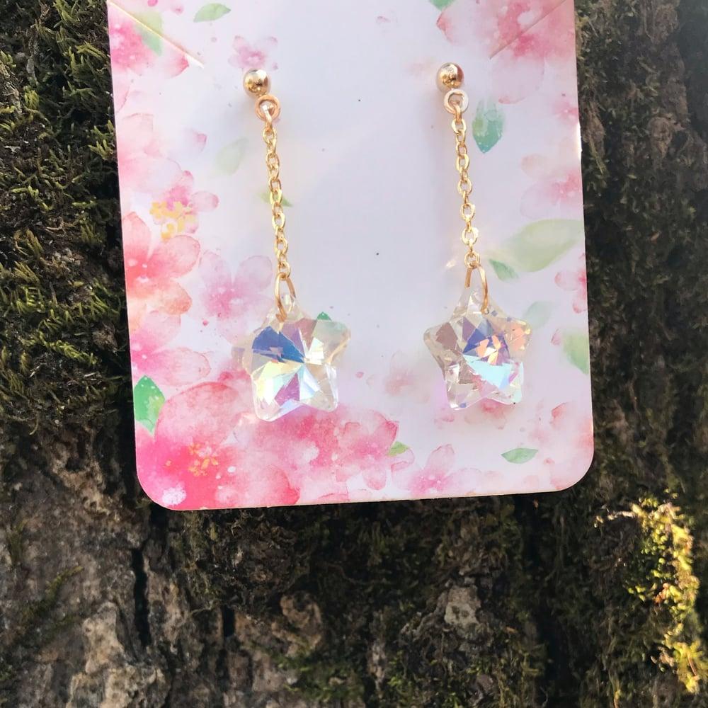 Image of Dainty crystal Star dangle earrings