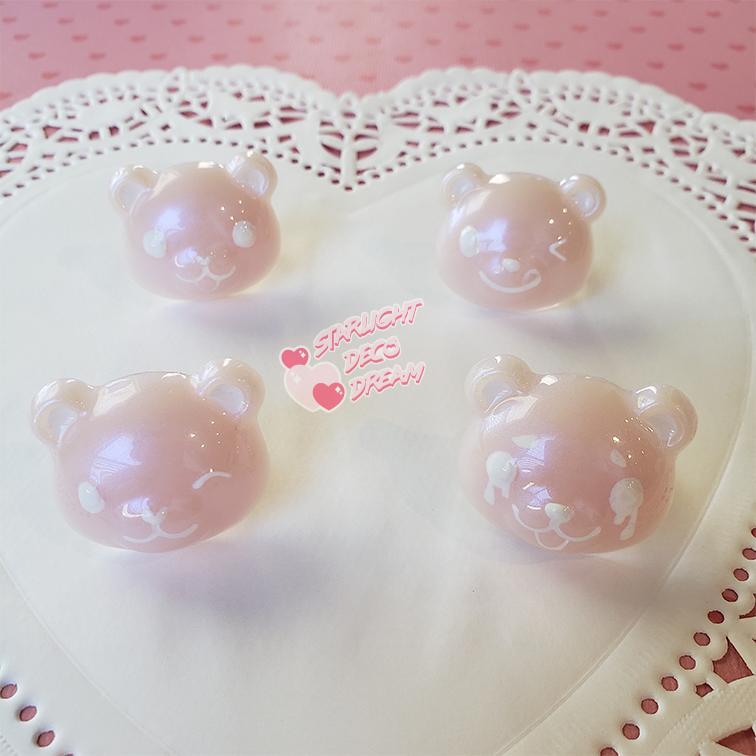 """Image of Pearly Pink Moody """"Tea"""" Bear Ring / Adjustable Size"""