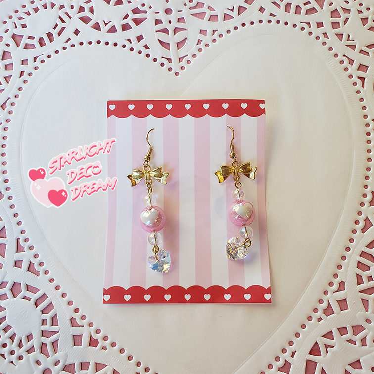 Image of Lovely Princess Heart Drop Crystal Earrings
