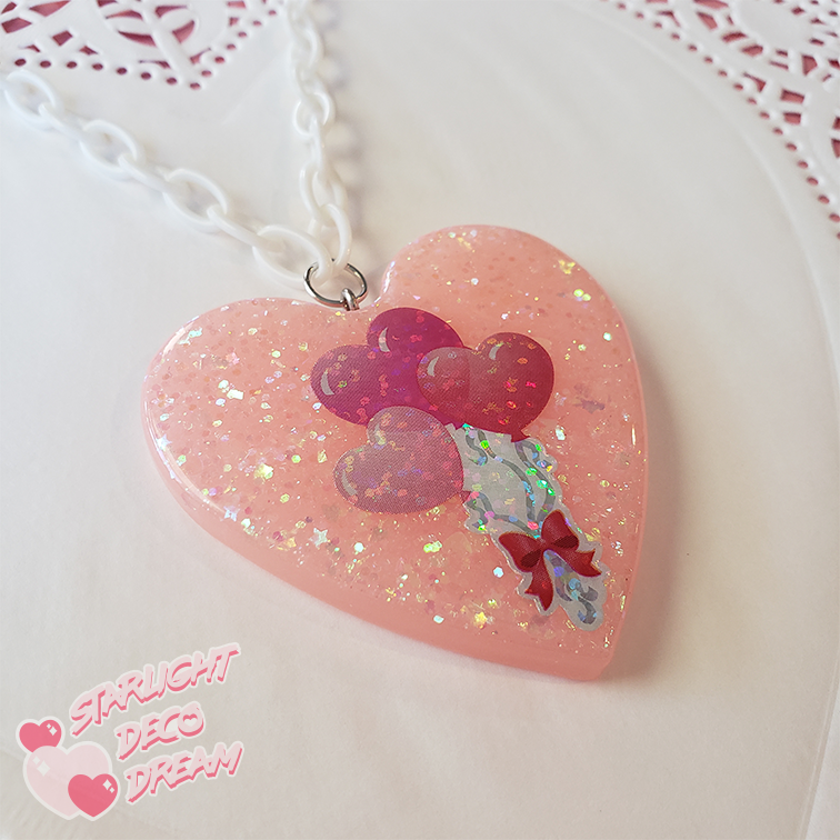 Image of Pink Heart Balloons Holo Glitter Necklace