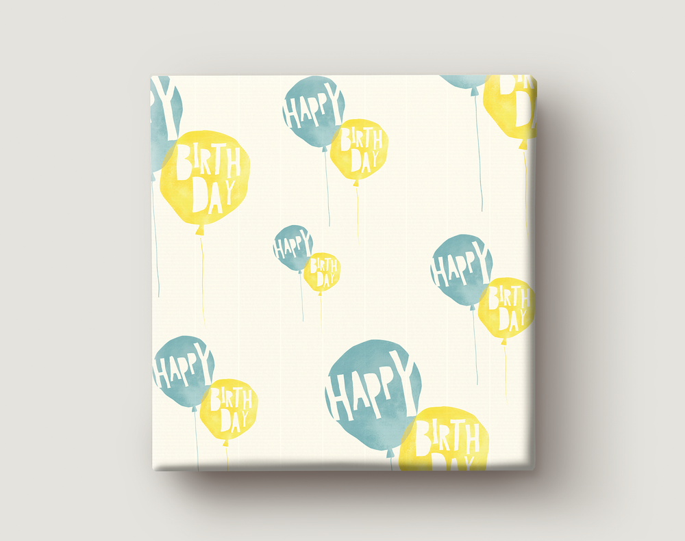 Image of Gift Wrapping Paper / BIRTHDAY BALLOONS / Yellow and Turquoise Birthday Balloons Present Paper