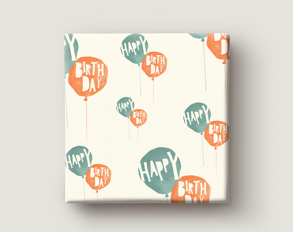 Image of Gift Wrapping Paper / BIRTHDAY BALLOONS / Red and Green Birthday Balloons Present Paper