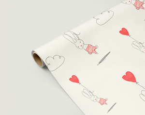 Image of Gift Wrapping Paper /BUNNY WITH HEART / Floating Heart Present Paper / Wrapping Paper for Birthday