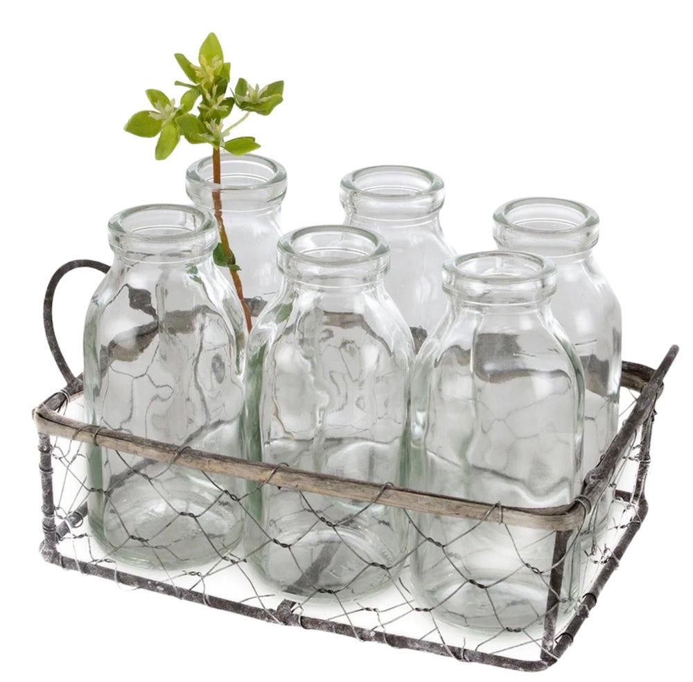 Image of Mini Milk bottles in Wire Basket