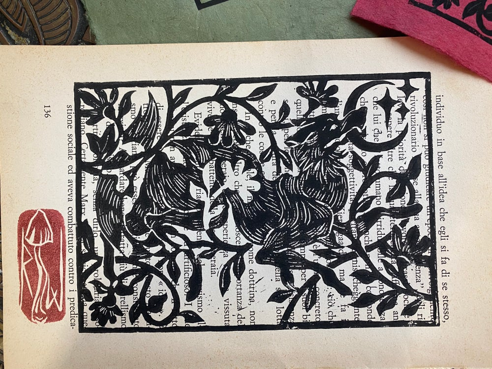 Image of WOLF MOON relief print