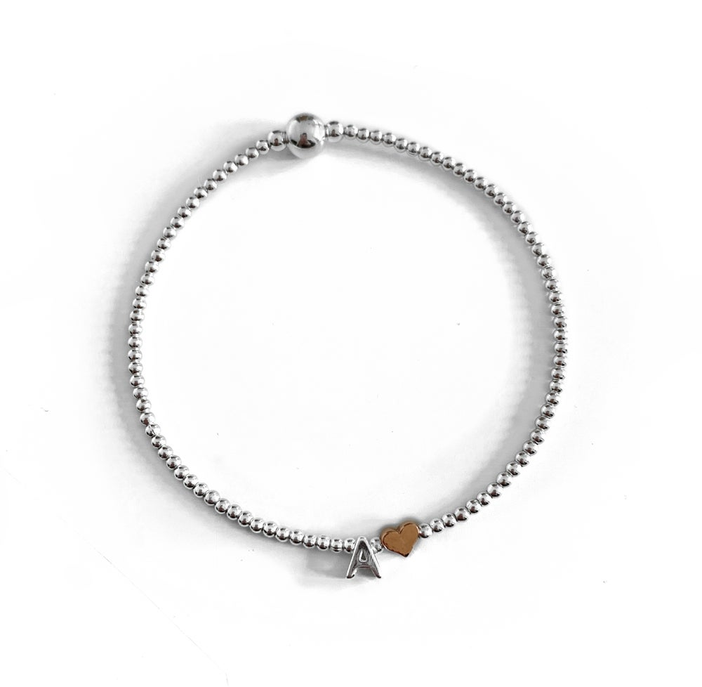 Image of Sterling Silver Initial Bracelet with Rose Gold Heart Bead