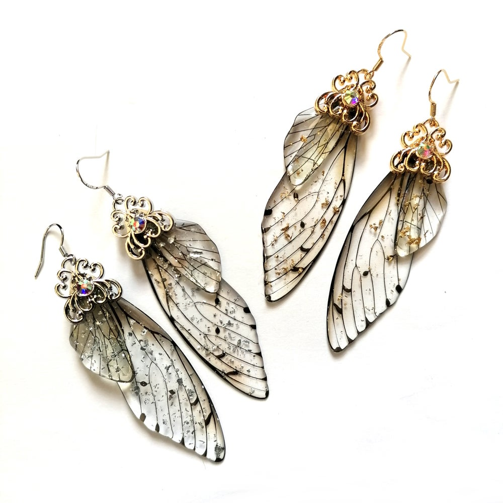 Image of Resin Cicada Wing Drop Earrings